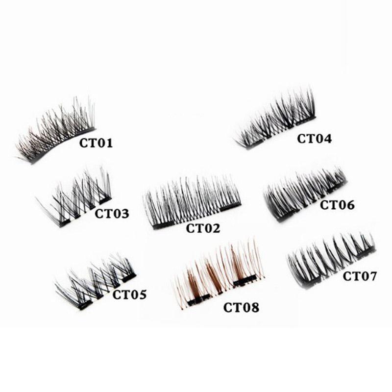 Double Magnet false eyelashes Full Length Strip Clear Band 8 Styles Magnetic fake eyelashes makeup eye lashes