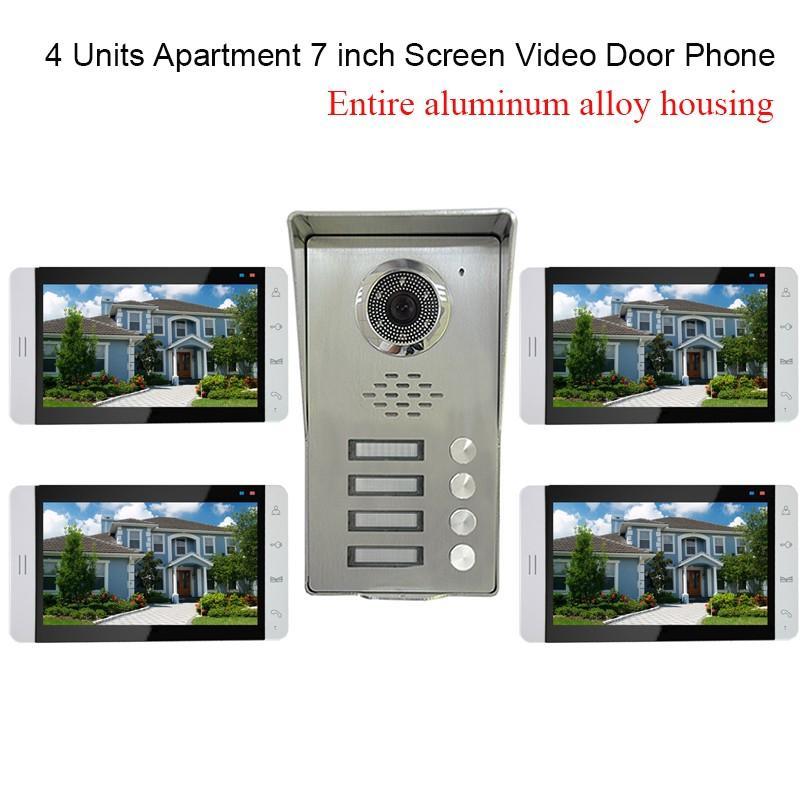 4 Units Apartment Intercom System Video Door Phone
