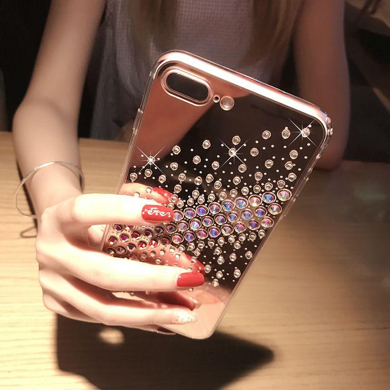 Rhinestone Mirror Phone Case for iphone X Soft TPU Luxury Diamond Back Cover for iphone 8plus 8 7 6 6s plus