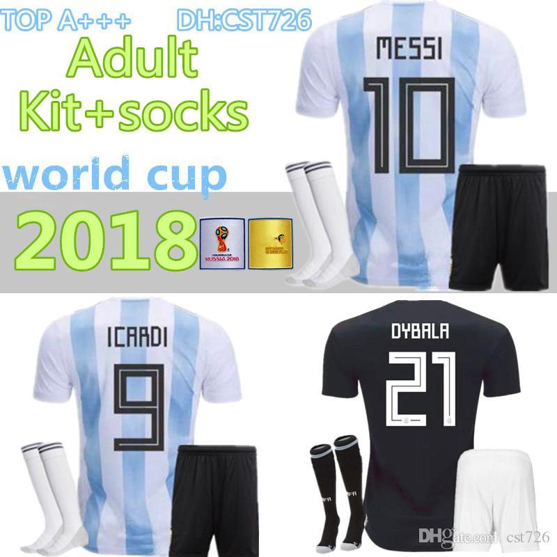98402c79cf8 2019 MEN 2018 Soccer Jersey KITS+Socks World Cup MESSI DYBALA ...