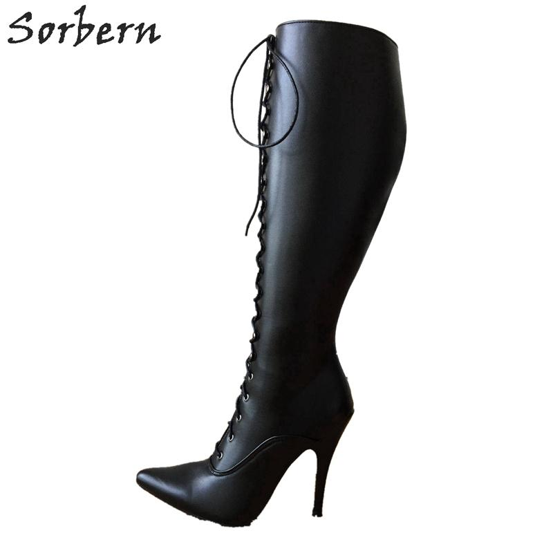 fecb86d92baf 12Cm Stiletto Heel Lace Up Custom Shalf Wide Calf Size Boots Women Hard  Shaft Knee Hi Pointed Toe Vintage Style Fetish Chukka Boots Ladies Shoes  From ...