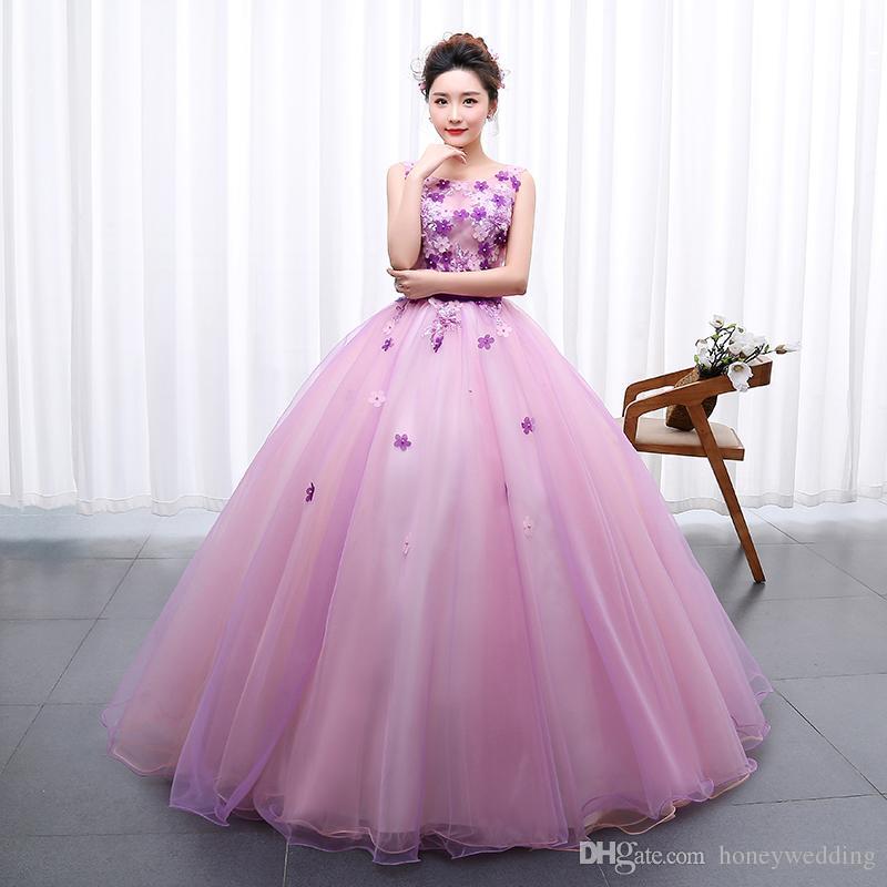 Light Purple Prom Dresses 2019 Flowers Beaded Prom Ball ...