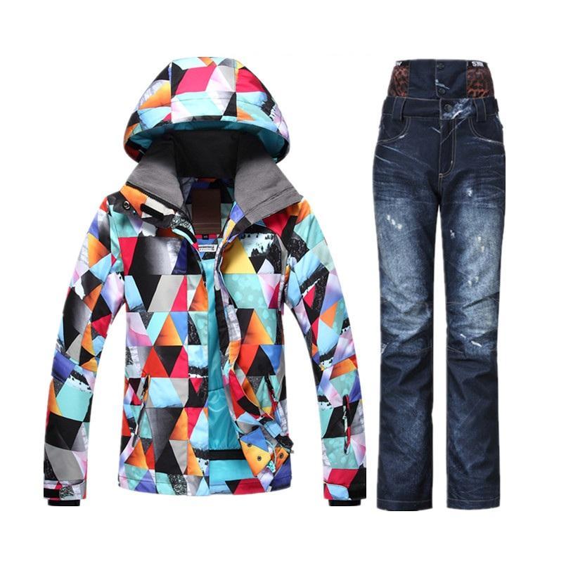 3fbc2d6937f4 2019 Wholesale New 2017 GSOU Waterproof Winter Ski Suit Female Snow Skiing  Snowboard Jacket Set Women Ski Pants Jeans Ski Jas Dames From Heheda5, ...