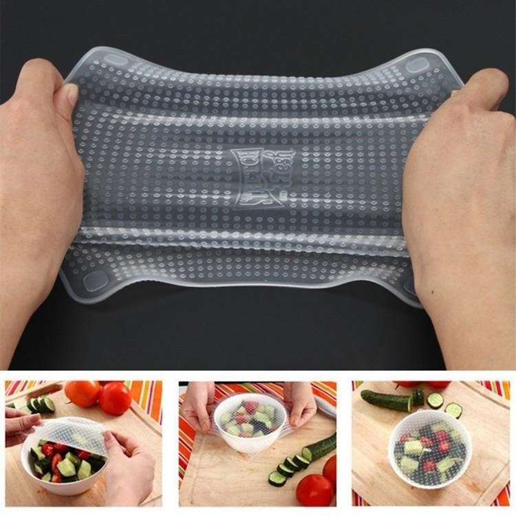 4 Reusable Silicone Fresh Food Grade Plastic Wrap Seal Cover Stretch
