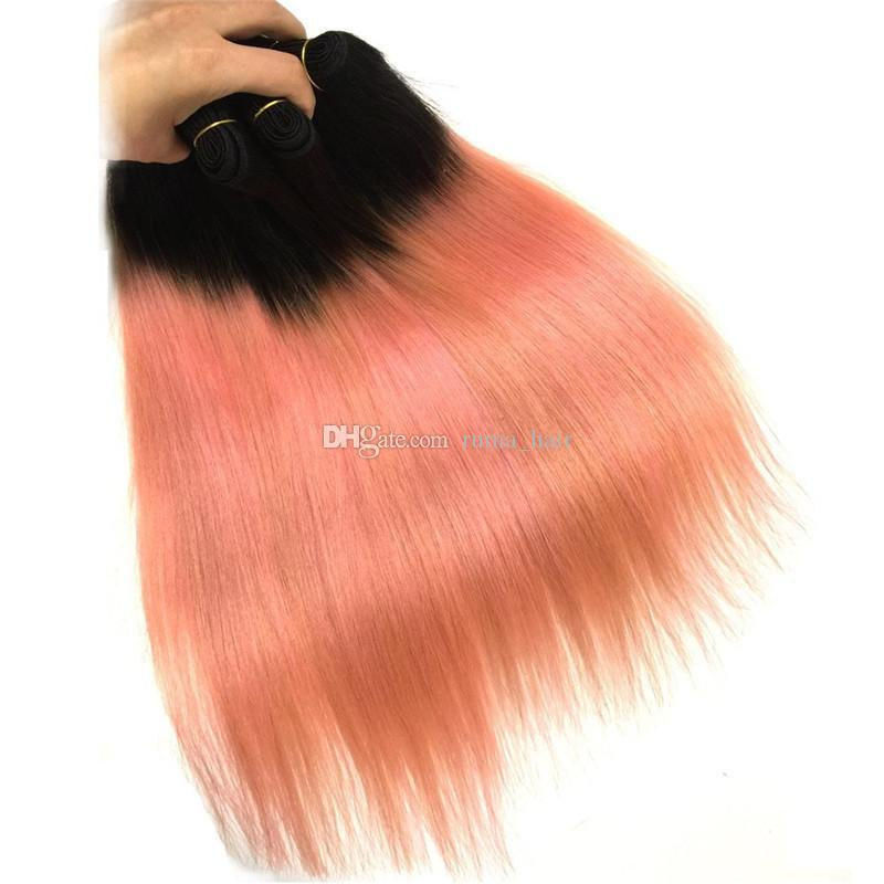 로즈 골드 인간의 머리 핑크 스트레이트 페루 옹 브르 머리와 레이스 정면 13 * 4 무료 부 스트레이트 Unprocess 헤어 1B 두 톤을 엮어 냈다
