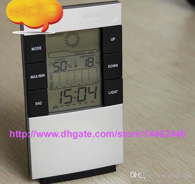 Mejor Precio 100 UNIDS / lote Digital LED retroiluminación Temperatura Humedad Medidor Termómetro Higrómetro Reloj Envío Gratis