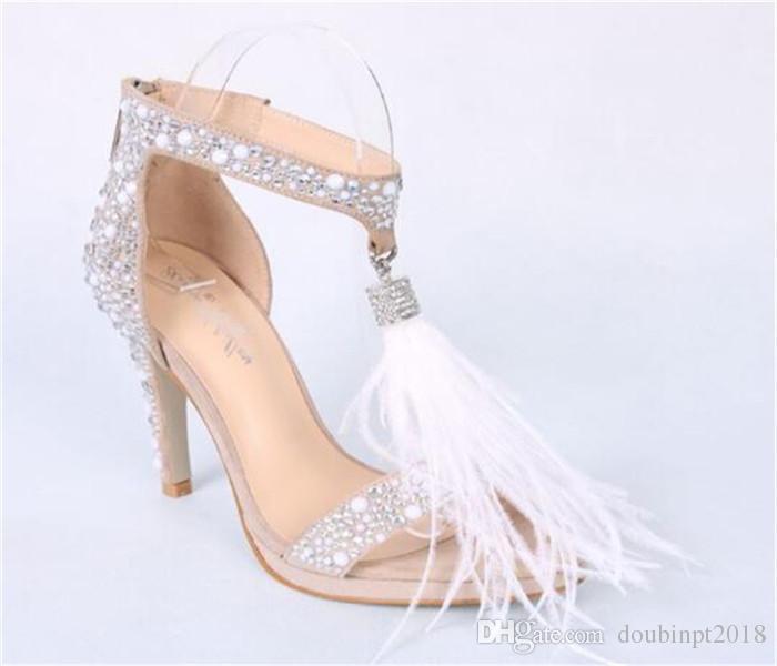 Rhinestone tüy yüksek topuklu ayakkabılar kristal sandalet kadınlar yaz stiletto tatlı düğün gelin ayakkabıları beyaz düğün ayakkab ...