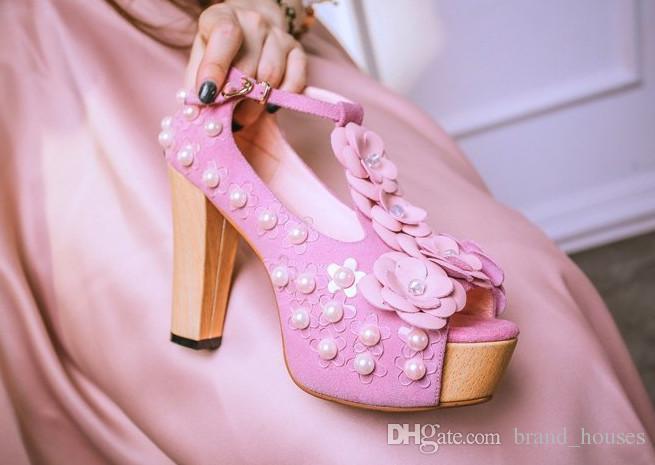 2018 Verão Rosa Pérola Chunky Heel Peep Toes Flor Sapatos De Casamento Mulheres Verão Plataforma Sólida De Salto Alto Frete Grátis
