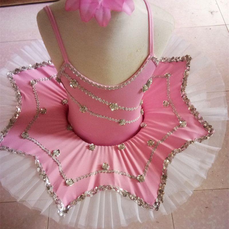 dfcb5d952 2019 Pink White Professional Ballet Tutu Child Girls Kids Sequin ...