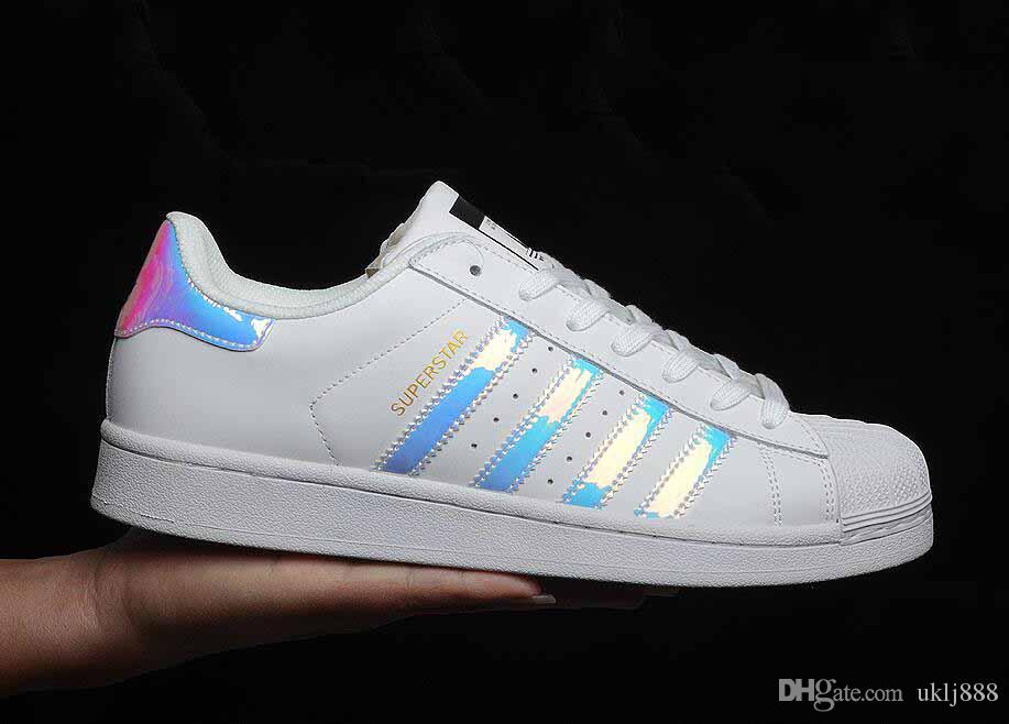 6413043f91b9 2018 Superstar Original White Hologram Iridescent Junior Gold Superstars  Sneakers Originals Super Star Women Men Sports Casual Shoes 36-45 Online  with ...