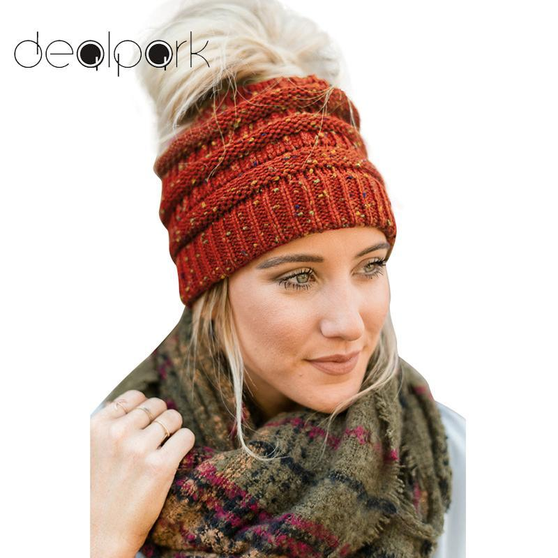2019 2018 Autumn Winter Hat Women Stretch Knitted Beanie Hat Slouchy Mixed  Color Hole Messy Bun High Ponytail Cool Warm Cap Ladies From Bluelike 873404f139a