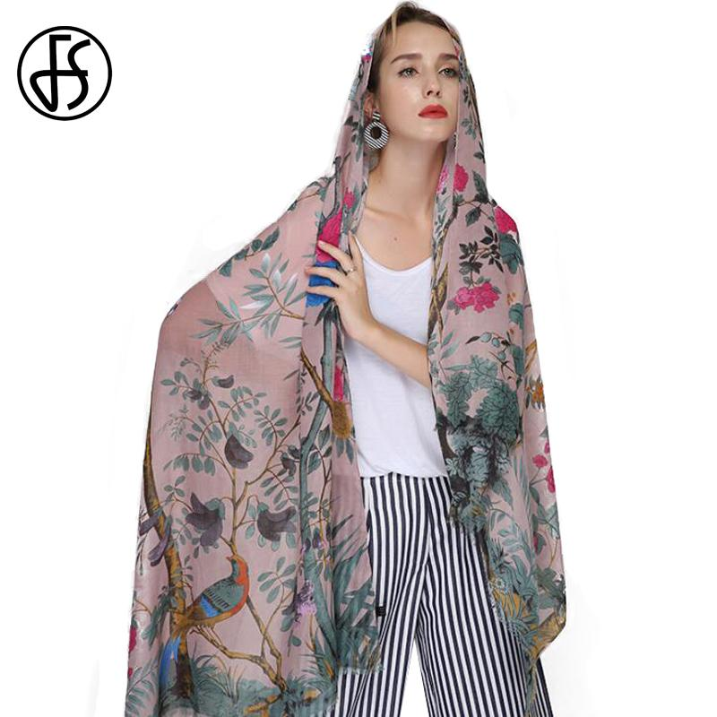 78ea6fe17331 FS Echarpe Foulard Femme Scarf Women Cotton Linen Animal Print Shawls  Scarves Large Hijab Floral Tree Bird Bandana Head Bandana Tablecloth  Confederate ...