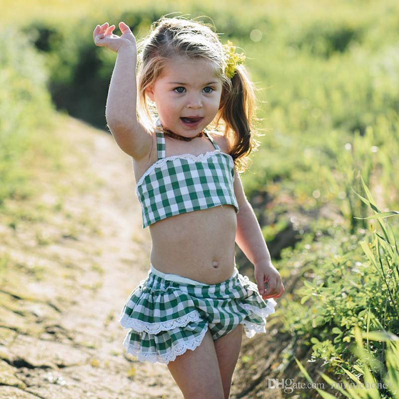 New Arrival Summer Kids Baby Girl Dress Simple Style Green Plaid Tank Tops Lace Skirt Pants Sets 1-4 Years