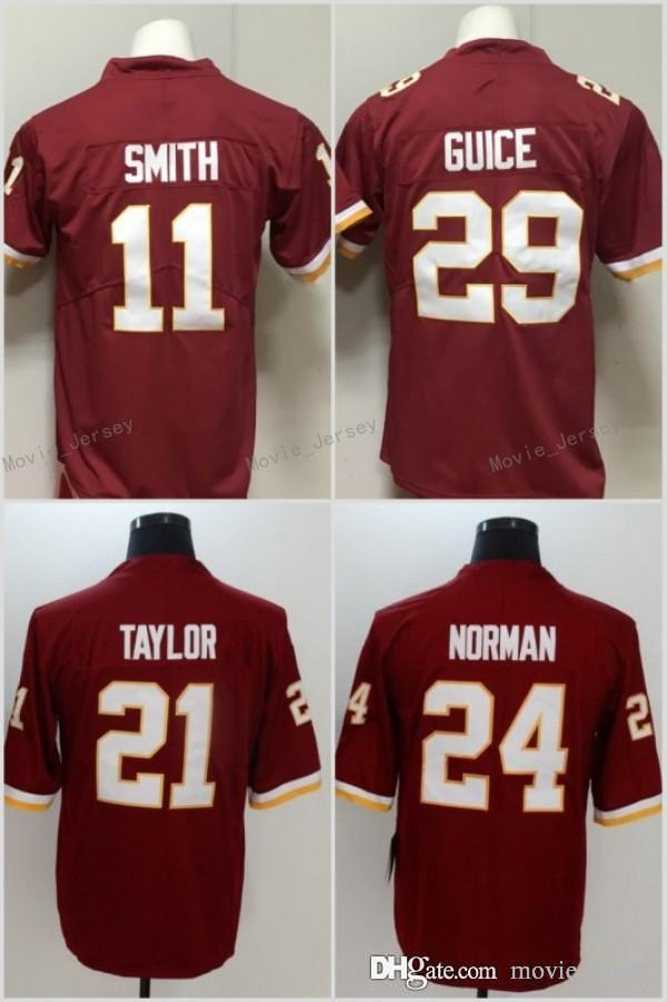 89f298569 11 Alex Smith Jersey Washington 21 Sean Taylor 24 Josh Norman 29 Derrius  Guice Redskins Football Jerseys Red White Online with $22.72/Piece on ...