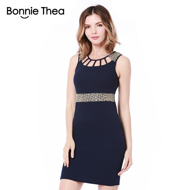 0cb4c7d77 Bonnie thea Mujeres Bodycon vaina Vestido de verano Femme negro / azul sexy  Vestido corto sin mangas trabajo de oficina vestidos de señora OL ...