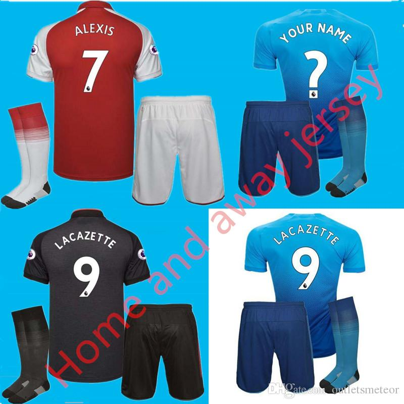 premium selection 208c5 10536 Home and away Jersey kits + Socks 17 18 OZIL ALEXIS WILSHERE Soccer Jersey  17 18 RAMSEY GIBBS CHAMBERS XHAKA WALCOTT GIROUD football shirt