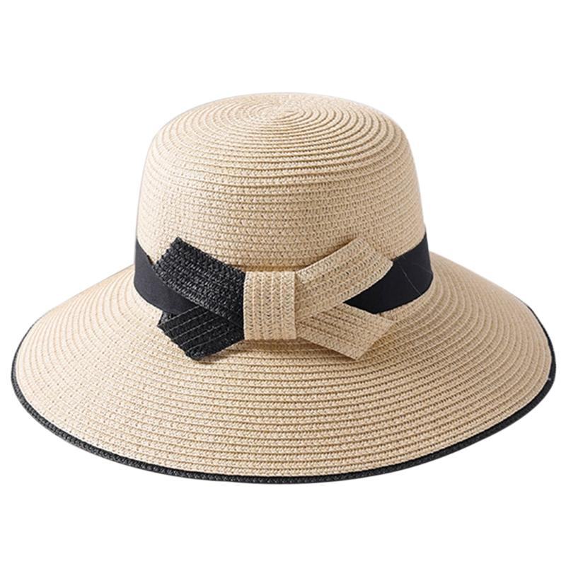 Women Wide Brim Floppy Cap Foldable Straw Sun Hat Summer Big Bowknot  Outdoor New Wool Hat Black Hats From Vintage66 e76ce2364f0