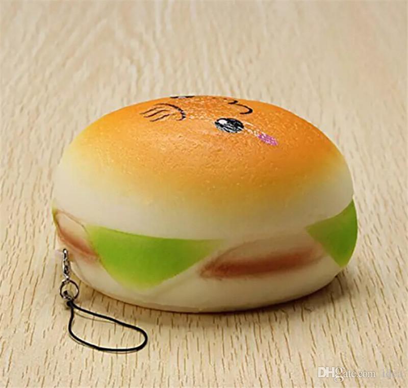 2018 10 cm Carino Jumbo Soft Sorriso Squishy Hamburger Charms Lento Aumento Kawii Giocattolo Bambini Emoji Cinghie Del Telefono La Decorazione Del Telefono Cellulare