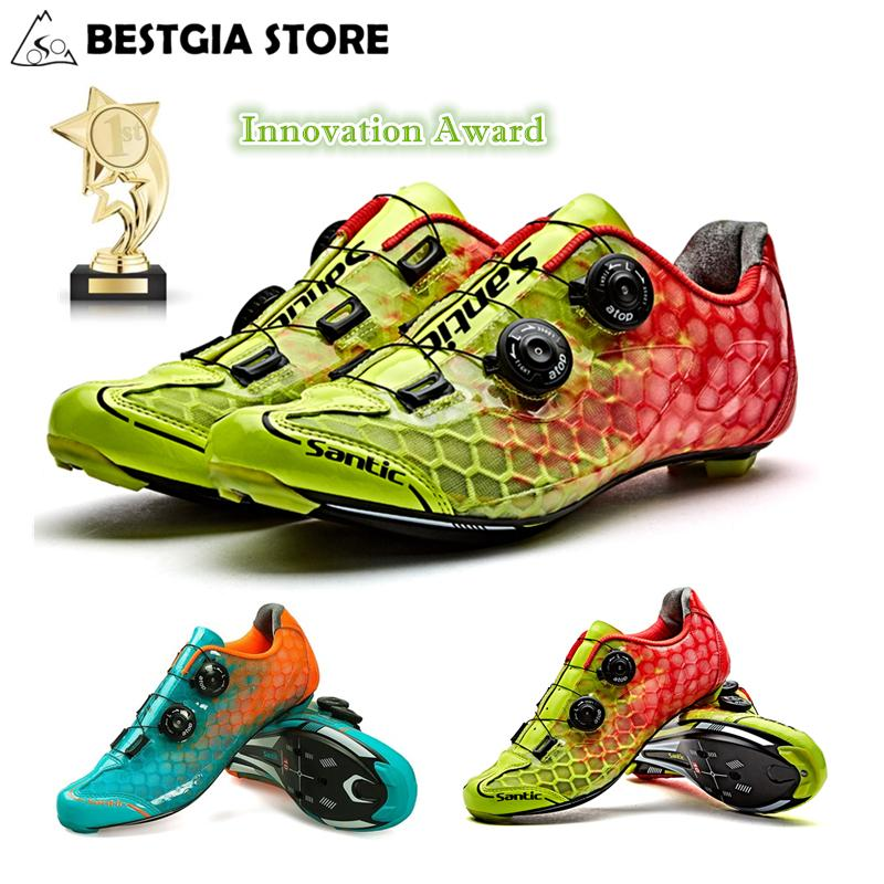 be1c198bba2 2019 Santic 10 Grade Carbon Fiber Cycling Shoes Men Ultralight Road Bike  Shoes Breathable Self Locking PRO Racing Team Bicycle From Shinysun