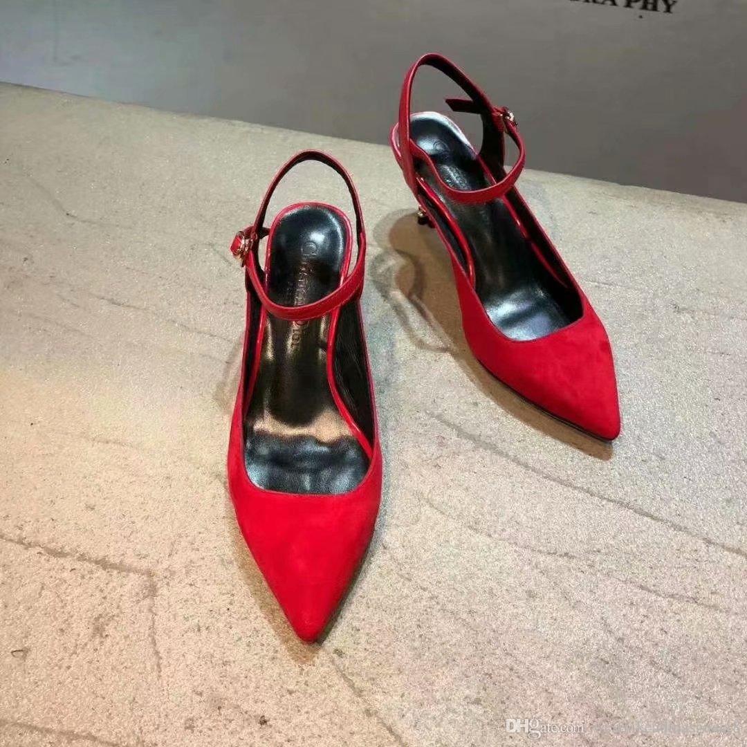 Ciruela De Oveja Mujer Y La Piel Zapatos Real Sandalias Tacones Estilo Moda Simple Occidental Altos Marca DEH9IYW2e