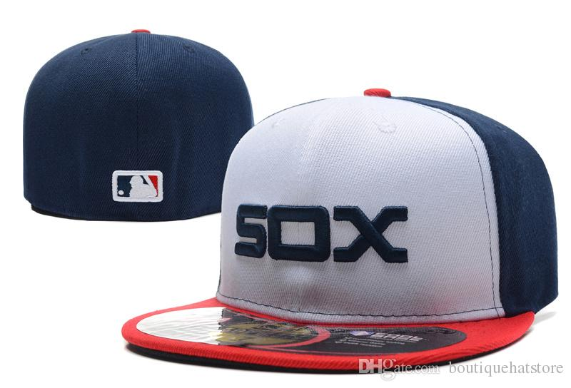 Hot Selling Men's On Field White Sox fitted hat Top Quality flat Brim embroiered Letter SOX Team logo fans baseball Hats full closed Chapeu