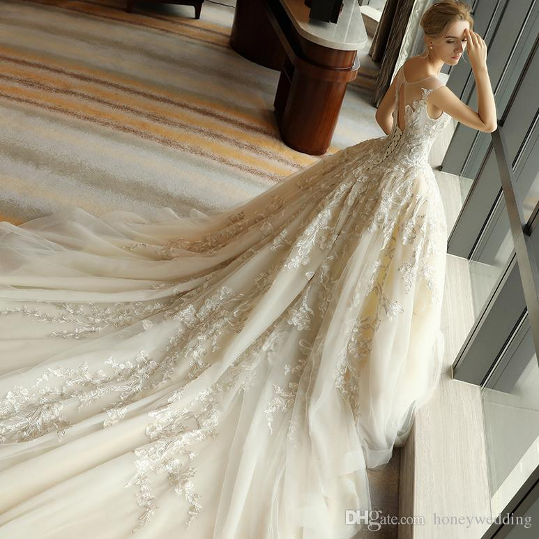 2018 New Wedding Dresses Luxury Wedding Gowns Lace Appliques Princess Ball Gown Bride Dress Real Photo Bridal Gowns