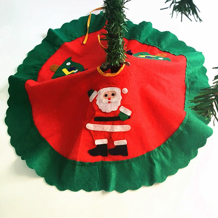 Wavy Ruffled Three Decals Christmas Tree Skirt 60 Cm Santa Claus With Two Trees Christmas Apron Christmas Tree Decoration Christmas Door Decorations