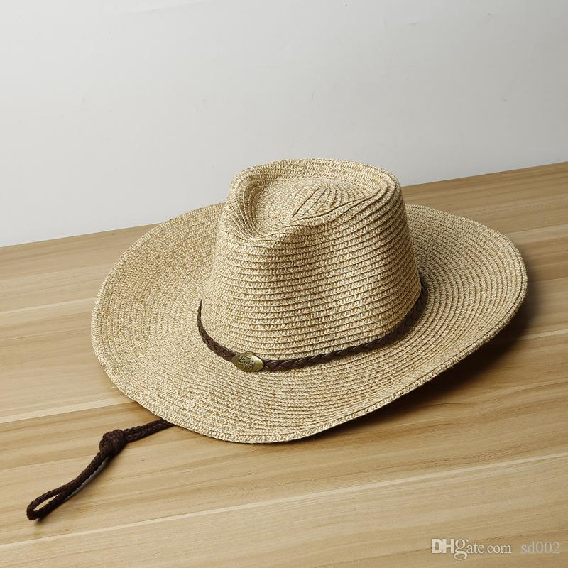 West Cowboy Caps Summer Beach Outdoor Straw Hats Wide Brim Portable  Casquette Foldable Sun Shading Sunscreen With Mix Color 14 5st Jj 1 Year  Old Birthday ... 254d3a2f5f04
