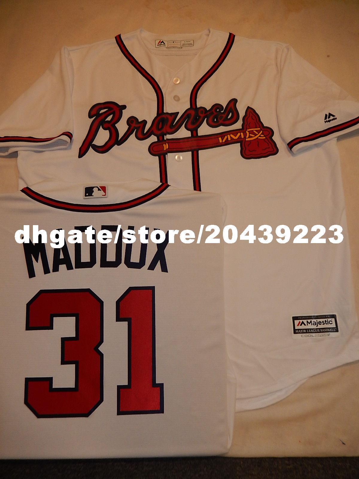 watch a7586 3095a Cheap custom MENS MAJESTIC Atlanta #31 GREG MADDUX Baseball Cool Base  JERSEY Mens stitched jerseys Big And Tall SIZE XS-6XL For sale