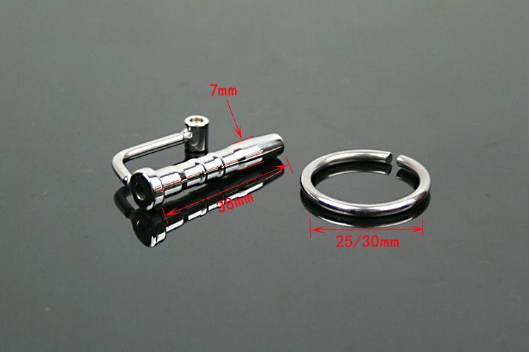 Hombre 304 Tubo de catéter de acero inoxidable con anillo de polla Sonido uretral Estirar Estirar Penis Enchufe adulto BDSM Sex Toy A025