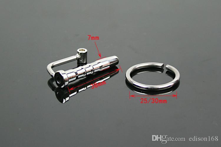 Man 304 Rostfritt Stål Bondage Kateterrör med kuk Ring Uretral Sounding Stretching Stimulate Penis Plug Vuxen BDSM Sex Toy A025