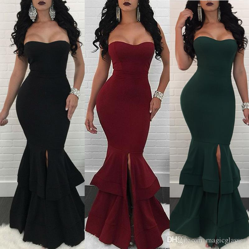 4bb5951402 2019 Burgundy Evening Dresses Long Strapless Satin Green Black Prom Gowns  Mermaid Formal Party Dress Front Split Online Women Clothing Sexy Dresses  Cheap ...