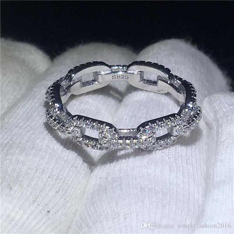 Main chaîne forme promesse bague 100% Soild 925 Sterling bijoux en argent 5A Zircon cz bague de fiançailles bagues pour femmes
