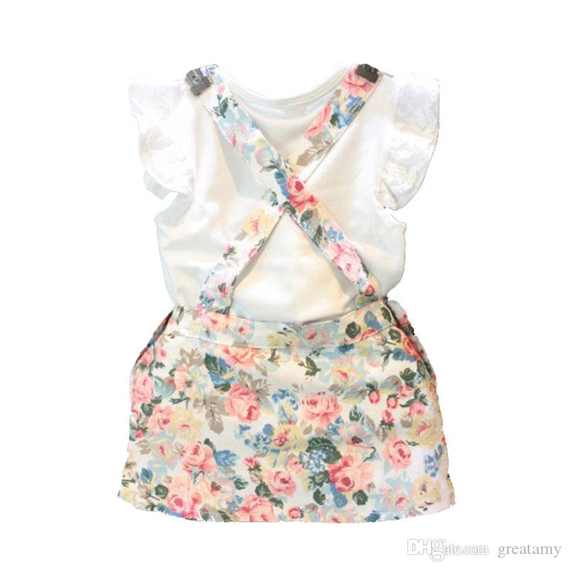 Newborn kids baby girls summer outfits clothes short sleeve T-shirt tops +floral suspender dress outfits kids girls fashion suit