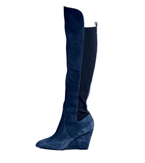 Botas Primavera Mujer Tacón Otoño De Y Alto Azules Compre Cuñas 4YZPx