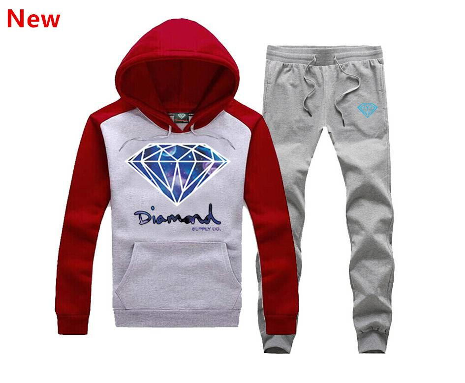 New Diamond Supply sweat suit Autumn sportswear sport men clothes track suits tracksuits male sweatshirts +Pants Plus Size 3XL X17