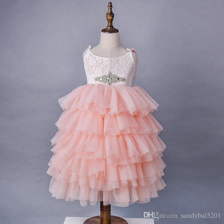 Party Dress for 1-7Y Kids Girls Beading Lace Dresses 2018 Summer New Baby Infant Princess Tulle Cake Dresses Vestidos Dress D628