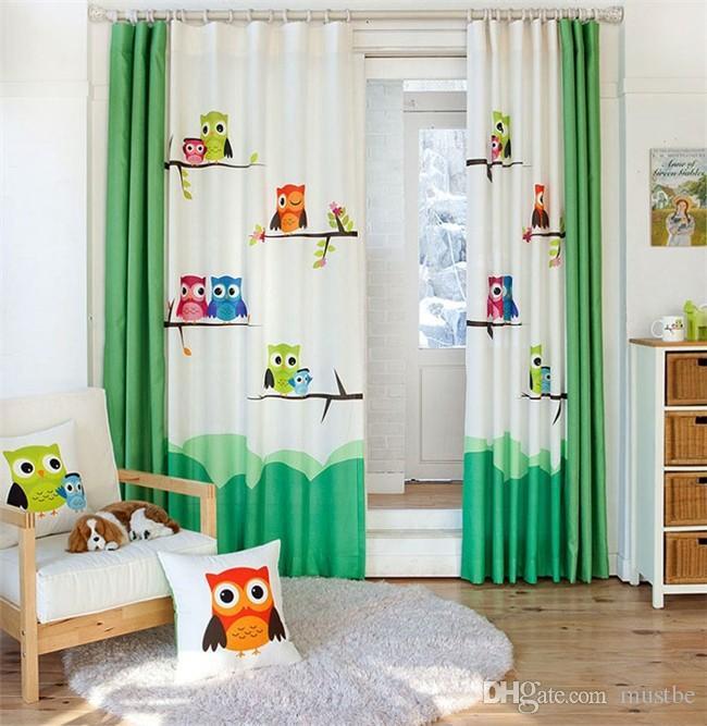 Pastorale Cartoon Eule kinderzimmer vorhang fenster vorhang für wohnzimmer  baby vorhänge dekoration cortina tür vorhänge Gardinen