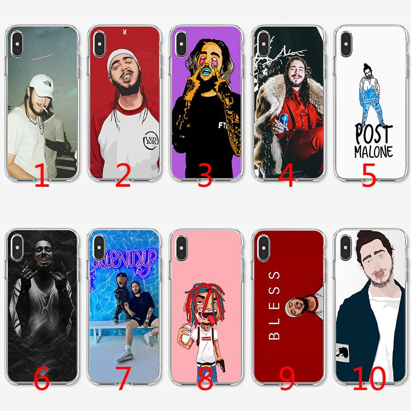 new arrival 0ccba 49059 Post Malone Soft Silicone TPU Case for iPhone X XS Max XR 8 7 Plus 6 6s  Plus 5 5s SE Cover