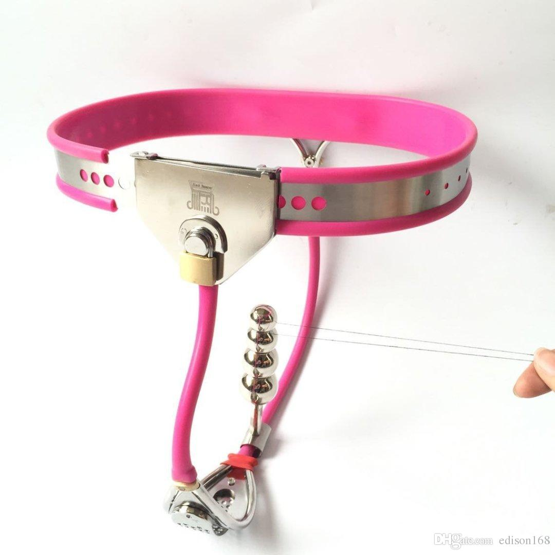 2018 Latest Design Female Whole Adjustable Stainless Steel Chastity Belt Device With Defecate Hole Anus Anal Plug Adult Bondage Bdsm Sex Toy