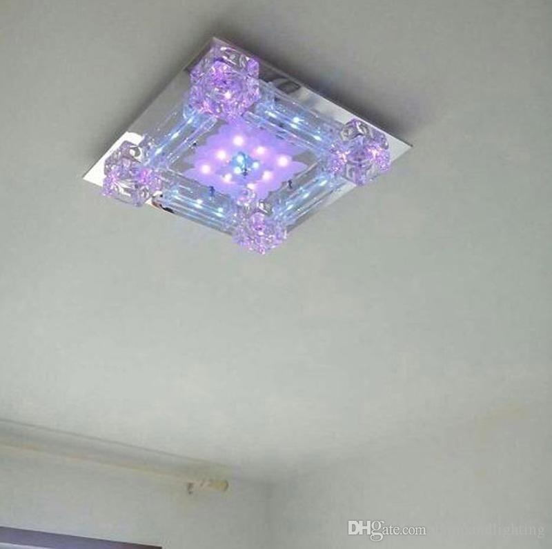현대 사각형 42cm 크리스탈 유리 LED 천장 조명 일시 중단 된 램프 110V 220V 루미레 침실 거실 Decoraion