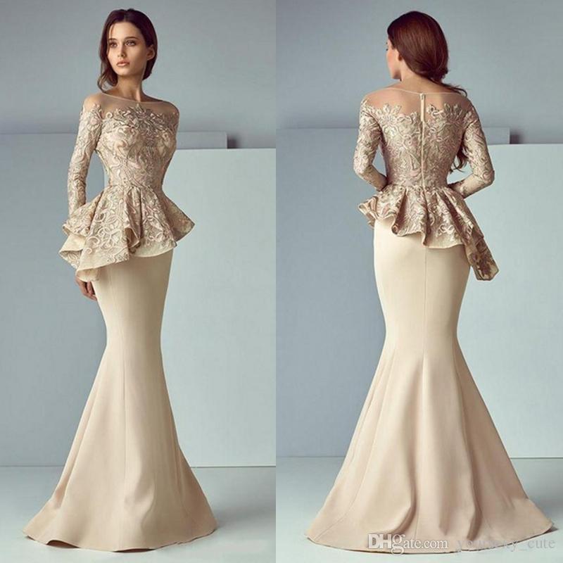 Elegant Long Sleeves Mermaid Evening Dresses Bateau Neck Lace Satin Saudi Arabic Champagne Prom Dresses Formal Gowns