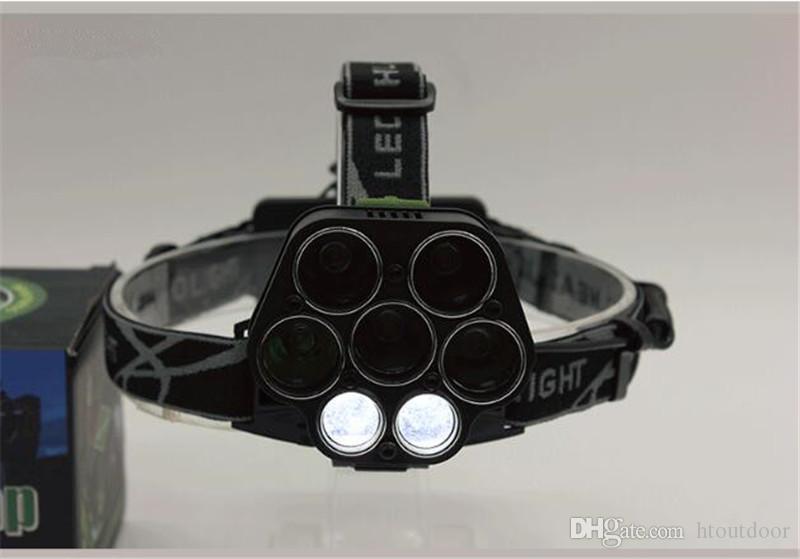 6 modalità 5 LED + 2COB USB ricaricabile LED Light Head T6 Outdoor Camping Pesca faro del faro di 18650 batteria