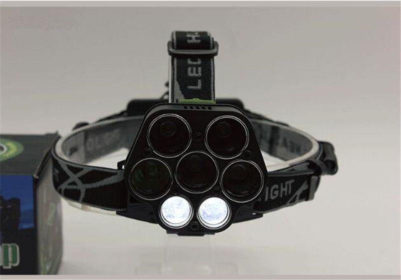 6 Modalità 5LED + 2COB USB Ricaricabile LED Head Light Lampada T6 Outdoor Camping Pesca Faro Faro Power by 18650 Batteria