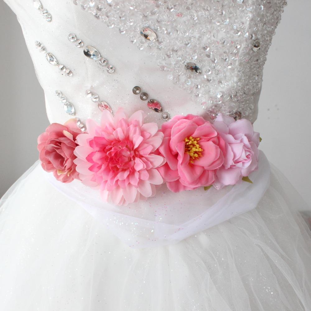 496dcf0e Cinturón de flores de moda para mujeres de niña Artificial Banda de  cinturón floral Boda