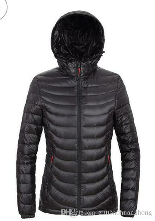 2017 autumn authentic outdoor sports light down jacket women short paragraph hooded large size coat