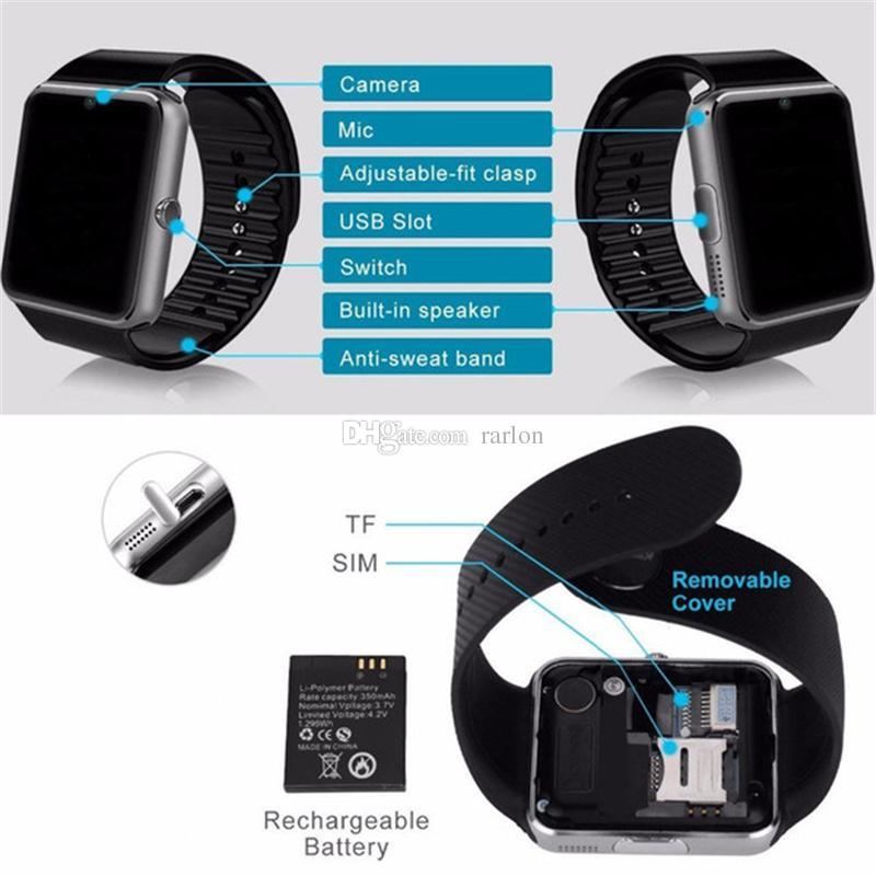 Intelligente Uhren iwatch GT08 Bluetooth-Konnektivität für IOS Apple iPhone Android Phone Intelligente Elektronik mit SIM-Kartensteckplatz Push-Nachrichten
