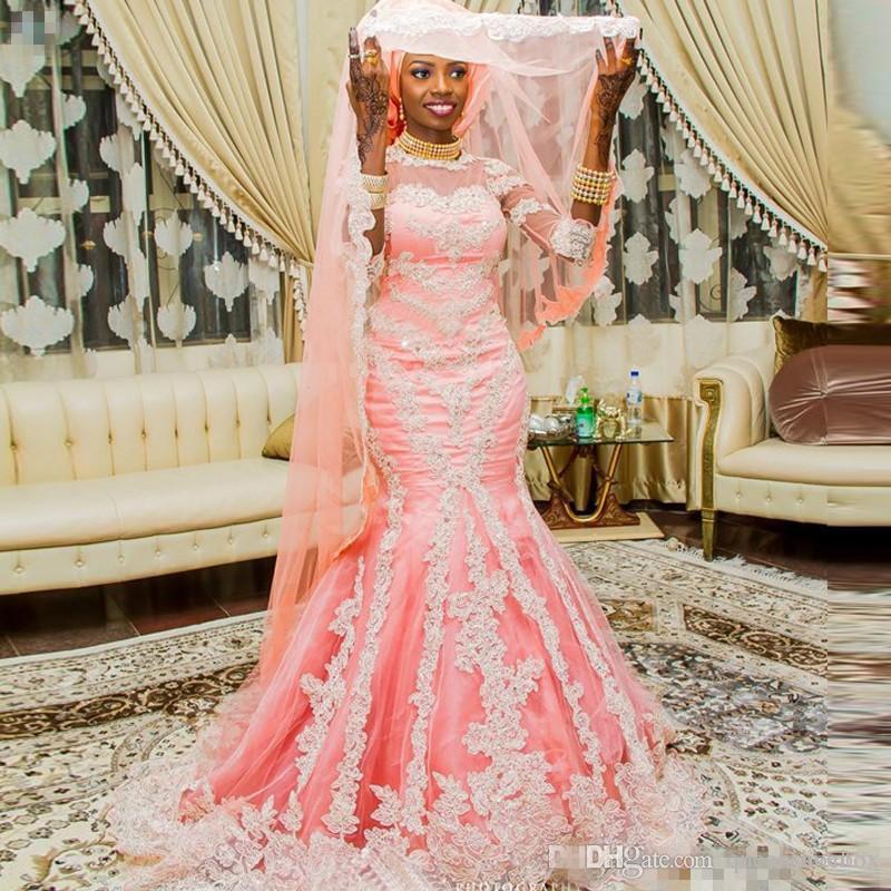 Abiti da sposa stile sirena musulmano rosa musulmano con mezza manica Appliqued abito da sposa nigeriano ricoperti di bottoni donne arabe 2018