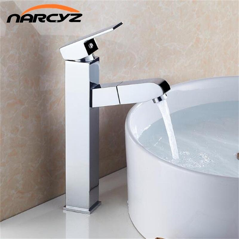 2018 Pull Out Chrome Basin Sink Tap Bathroom Faucet Pull Down ...