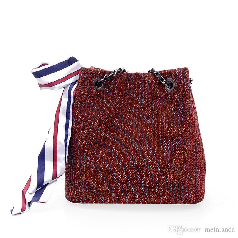 Bags Women New Color Nylon Bucket Bag Fashion Ribbon Scarf Chain Bags  Messenger Diagonal Wild Shoulder Bags Bags Women Nylon Bucket Bag Ribbon  Scarf Chain ... 8203deb3e6e57